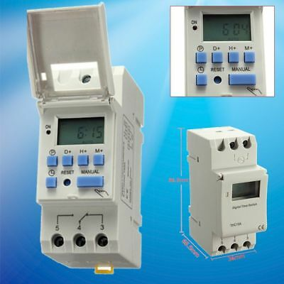 DIN Rail Time Relay Switch Digital LCD Power Programmable Timer AC220V 16A