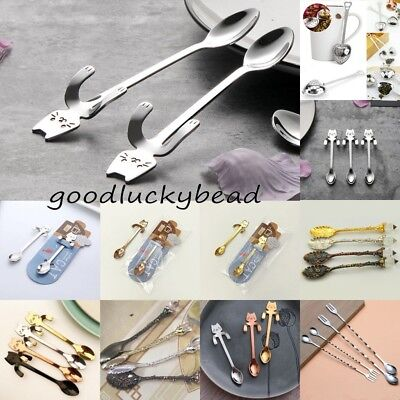 Cartoon Cat Stainless Steel Tea Coffee Spoon Ice Cream Tableware Xmas Gift COOL