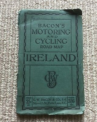 "Antique Vtg Bacon's Motoring & Cycling Road Map - Ireland - 37"" x 29"""