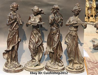 """20"""" Old Chinese Copper Stand 4 Great Beauty Belle Peri Goddess Dance Statue Set"""