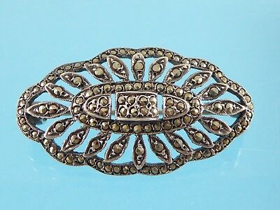Original Vintage Old Art Deco Solid Silver Marcasite Brooch 1930s