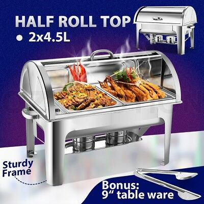 9L Bain Marie Bow Chafing Dish 4.5Lx2 Stainless Steel Half Roll Top Food Pan