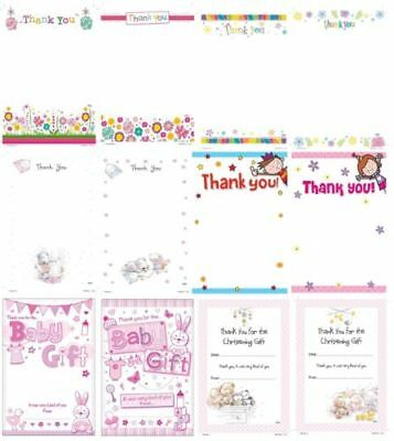 THANK YOU Notes Sheets & Envelopes - Range of Designs Boy Male Girl Female 3