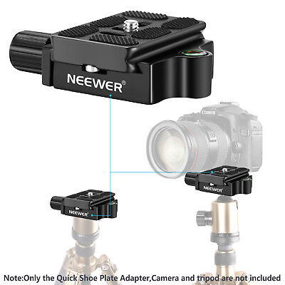 "Neewer Black 1/4"" Quick Shoe Plate Adapter Clamp with 1/4-3/8"" Screw for Camera"