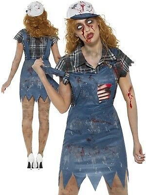 28674b048b8e2 Zombie Hillbilly Costume Ladies Country Girl Halloween Horror Fancy Dress  Outfit