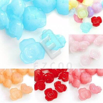 30pcs Acrylic Flower Beads Jelly-like Loose Jewellery Makings Craft 16x16mm
