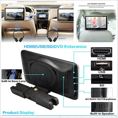 "10.1"" HD Headrest DVD Player Car Multimedia Back Seat Entertainment Monitor Kit"