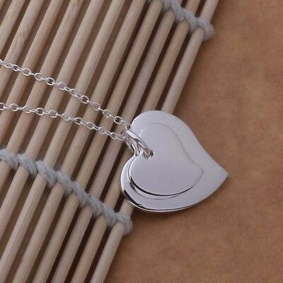 charms 925 sterling Silver Plated Fashion heart Wedding pendant necklace jewelry