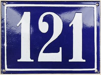 Large old French house number 121 door gate plate plaque enamel steel metal sign