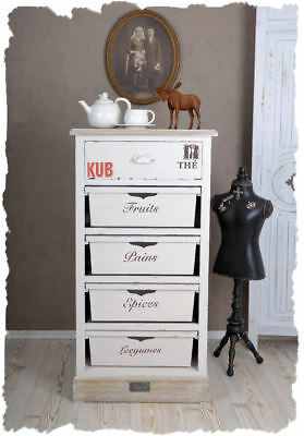 High Chest Vintage Dresser with Drawers Shabby Chic White