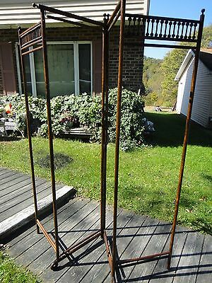 ANTIQUE Victorian Bent Wood Stick & Ball 4 Section Privacy Changing Screen