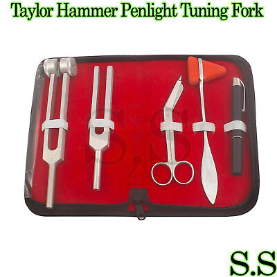 Set 5 pcs Reflex Percussion Taylor Hammer Penlight Tuning Fork C 128 C 512 5.5""