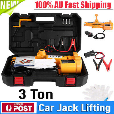"3 Ton 12V Electric Scissor Car Jack Lift with 1/2"" Impact Wrench Automotive"