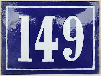 Large old blue French house number 149 door gate plate plaque enamel steel sign
