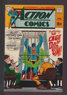 Action Comics # 377 The Cage of Doom ! grade 8.0 scarce book !!
