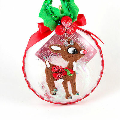 SET of 3 Rudolph Red Nosed Reindeer Bubble Diorama Christmas Ornament A09