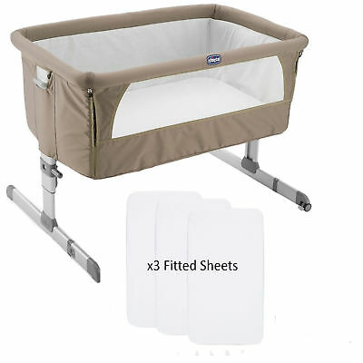 CHICCO DOVE GREY NEXT 2 ME SIDE SLEEPING CRIB WITH x3 FITTED SHEETS & AUTO PACK