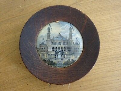 Antique Prattware Pot Lid Paris Exhibition 1678 Framed