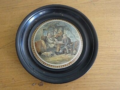 Antique Prattware Pot Lid A Fix Framed
