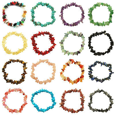 Wholesale 1-100 Gemstone Crystal Chip Beaded Bracelets Gift Reiki Healing Stones
