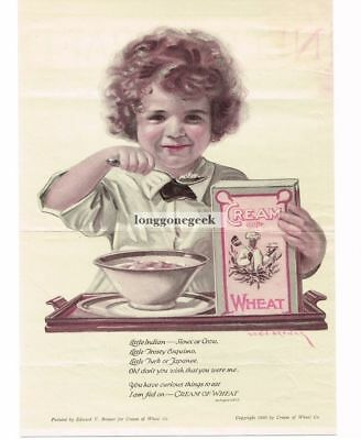 1920 CREAM OF WHEAT Cereal Poem Curly-Haired Girl art Edward Brewer Vtg Print Ad