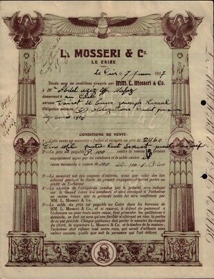 Bank L Mosseri Cairo  Egypt 1917 - Vign. Sphinx, Pyramids - very decorative