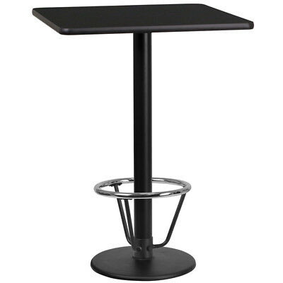 24'' Square Black Laminate Table Top W/ 18'' Bar Ht Round Table Base & Foot Ring