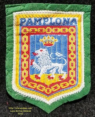 LMH PATCH Woven Badge  PAMPLONA  Lion Crown City COAT ARMS Navarre SPAIN Espana