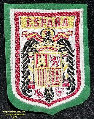LMH PATCH Woven Badge  ESPANA Spain Spanish COAT ARMS  Eagle Lion Castle green