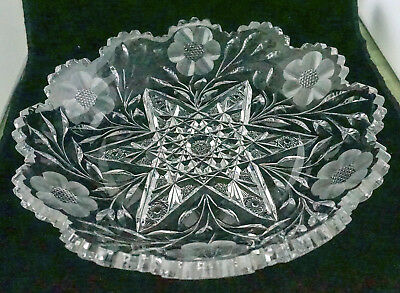 Gorgeous Antiq ABP American Brilliant Cut Glass Rambler Rose Cake Torte Tray 12""