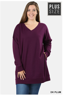 Sexy Plus Oversized Loose Fit V-Neck Tunic Length Sweatshirt Women Plus 1X/2X/3X