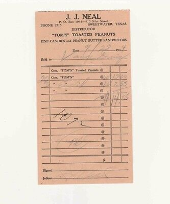 Vintage Scarce 1944 Tom's Toasted Peanuts Sweetwater, Texas Receipt Ticket