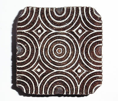 Square Shaped 5.8cm Indian Hand Carved Wooden Printing Block (SQ37)