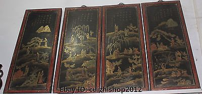 """23"""" Old Chinese Palace Wood lacquerware Belle Girl Woman Lady Folding Screen Set"""