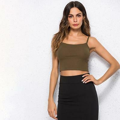 Womens Girls Sleeveless Summer Crop Tops Casual Tanks Fashion Cami Vest Blouse G
