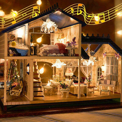 DIY LED Music Doll house Miniature Villa Wooden Provence Lavender Christmas Gift