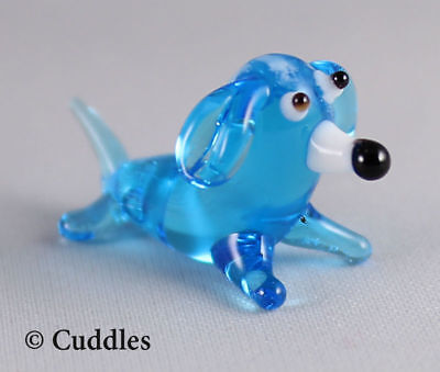Dachshund Blue Weiner Hot Dog Mini Glass Figurine GANZ Tiny Blown Small New
