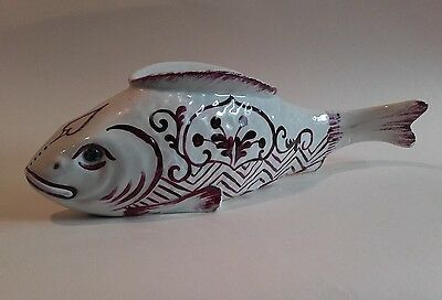 An Unusual Antique French Faience /  Fish Marriage Jardiniere signed