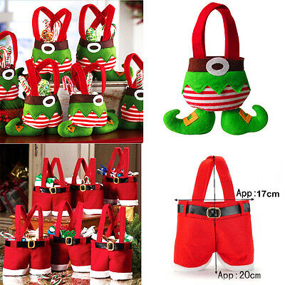 XMAS Party Gift Santa Pants Elf Spirit Christmas Candy Gift Bag Sack Stocking