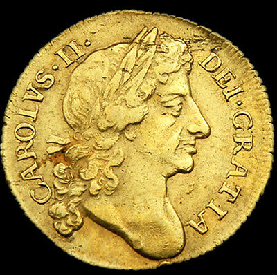 Rare King Charles The Ii 1678/7 Gold Half Guinea