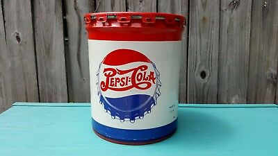 Antique Original Vtg Old 1940's Pepsi Cola Metal Syrup Tin Advertising Can Drum