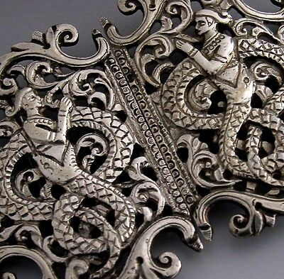 HIGH QUALITY BEAUTIFUL ANGLO INDIAN SOLID SILVER BELT BUCKLE c1900 ANTIQUE