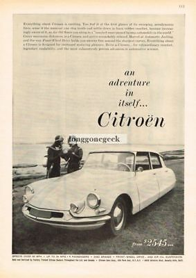 1960 CITROEN DS Sedan Scuba Divers Vtg Print Ad