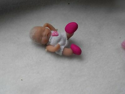 OOAK handmade miniature sulpt  5.5 cm  clay baby  jointed doll 1/12th  by Carol