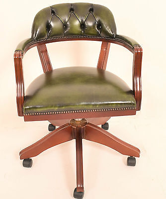 A Mid 20th Century Mahogany and Leather Captains Office Desk Chair