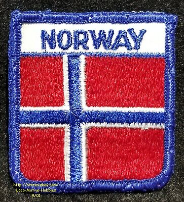 LMH PATCH Woven Badge  NORWAY Flag Pennant  DENMARK White Cross on Red Danmark