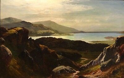 Fine Large 19th Century Barmouth River Mawddach Landscape Antique Oil Painting