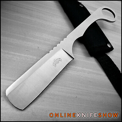 Straight Edge Razor Fixed Blade SILVER Cleaver TANTO Hunting Knife Karambit NEW