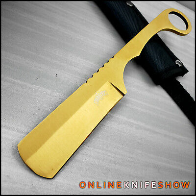 Straight Edge Razor Fixed Blade GOLD Cleaver TANTO Hunting Knife Karambit NEW