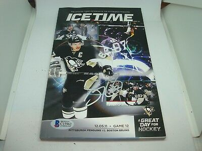 Sidney Crosby Signed Pittsburgh Penguins Gametime Magazine Beckett BAS COA 1A